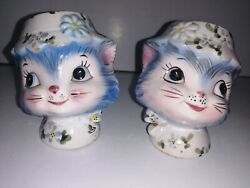 Lefton Miss Priss Kitty Salt Pepper Antique No Stoppers Very Old Made In Japan