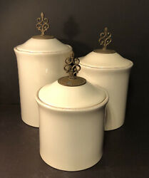 Set Of 3 Willow House Southern Living @ Home Belle Meade Canisters