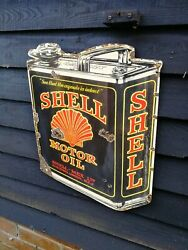 Shell Enamel Sign Shell Oil Can Garage Oil Petrol Gas Large