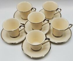 Lenox China Moonspun Ivory Platinum Trimmed Set Of 6 Footed Teacup And Saucer
