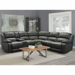 Power Reclining Sectional Sofa Dunhill Grey Leather Pulaski