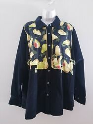 Quacker Factory L/s Black Corduroy Fruit Stand Shirt W/pears And Crystals Sz 1x