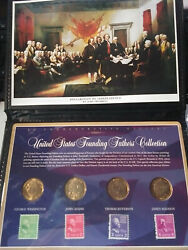 United States Founding Fathers Collection 4 Presidential Dollars And Stamps Us274