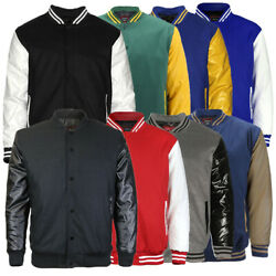 Maximos Menand039s Lmj Snap Button Front Classic Varsity Jacket