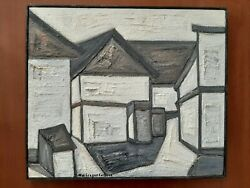 Max Gregor Carlsson Swedish 1914-1996, Oil On Canvas, Houses, Impasto, Signed