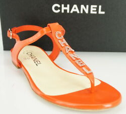 Logo T Strap Thong Flat Sandal Size 37 C Red Leather Ankle Logo