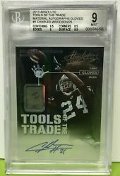 Charles Woodson 2013 Absolute Tools Of The Trade Autograph Worn Gloves /25 Bgs 9
