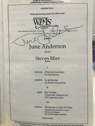 1993 June Anderson Signed Program At The Kennedy Center Complete Program