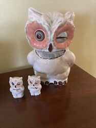 Vintage Shawnee Pottery Winking Owl Cookie Jar 1940and039s Made In Usaandnbsp Good Cond