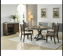 5p Or 7pc Dining Set Transitional Dard Oak W/marble Round Table Top And Side Chair