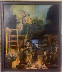 Apothecary Pharmacy Art The Druggist Large Framed Work Rare Vintage Work