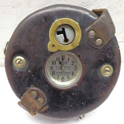 1930and039s Detex Guardsman Time Clock Original Leather Case - Free Shipping