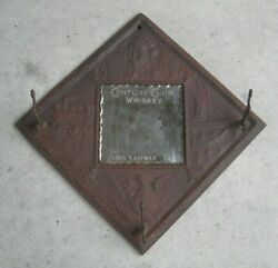 1930and039s Century Club Whiskey Embossed Tin Hat Rack And Mirror Advertising Item Rare