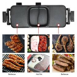 110v 3 Grid Electric Grill Hot Pot Bbq Frying Grill Smokeless Barbecue Machines