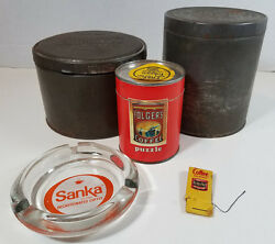 Vintage Coffee Tea Tins Collectibles Folgers Butter Nut Sanka Biston's Lot Of 5