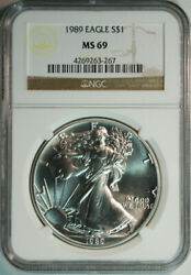1989 American Silver Eagle - Ngc Ms69 - Free Shipping And Free Returns