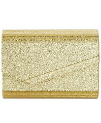 INC Maria Envelope Glitter Clutch Evening Bag Special Occasion Gold $13.24