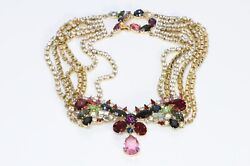 Christian Lacroix Paris Gold Plated Red Pink Crystal Chain Collar Necklace