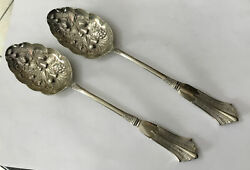 Antique Victorian Pair 24cm 9andrdquo Nickel Silver Plate Fruit Berry Serving Spoons