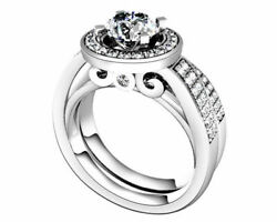 2.55 Ct Round Cut Simulated Diamond 14k White Gold Engagement And Wedding Rings