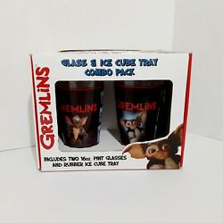 Gremlins Two 16 Oz. Pint Glasses And Rubber Ice Cube Tray Collectible Set Nib