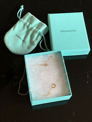 And Co 18k Rose Gold East West Heart Key Pendant Necklace Retired New