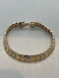 14k Tri-color Gold Yellow White Rose Sectional Panel Wide Bracelet 15.6g Link