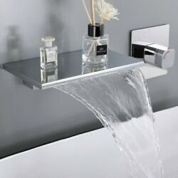 Waterfall Wall Mount Chrome Single Handle Bathroom Sink Faucet Solid Brass