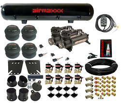 Air Ride Kit For 1958-64 Impala Valves 7 Switch 480 Black Air Compressors And Tank