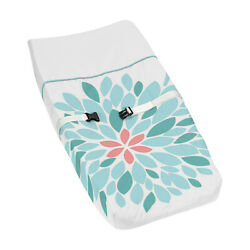 Changing Table Pad Cover For Sweet Jojo Girl Turquoise Coral Flower Baby Bedding