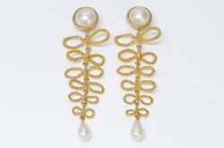 Vintage Paris Couture Extra Long Gold Plated Bow Pearl Earrings