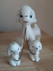 Vintage Porcelain Poodles Dog Pups Family Figurines With White Fur Chained Japan