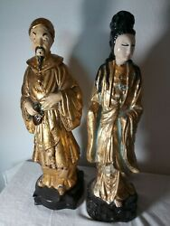 Vintage Pair Man And Woman Oriental Statues 16 Ins. Tall Gold Robes