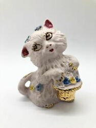 Vintage Japan Cat Porcelain Bisque Pink with Gold Basket Nails and Tail EUVC