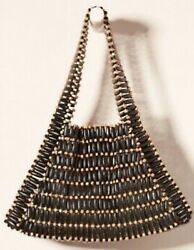 Nwt Anthropologie Bamboo Beaded Tote Bag Purse Triangle Shape Double Strap Black