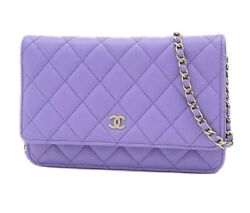 Wallet On Chain 20s Purple Quilted Caviar With Light Gold Hardware