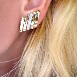 Seevideo Vintage 1980and039s 0.50ct Diamond Clip-on Earrings 18k Yellow Gold 17.6g