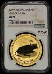 2009-p Australia G100 Year Of The Ox 1 Oz Gold Coin - Ngc Ms 70 - Sku-z1215