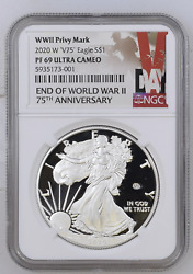 """🇺🇸2020 W End Of Wwii 75th Anniv American Silver Eagle V75 Ngc Pf69 Uc """"buy Me"""""""