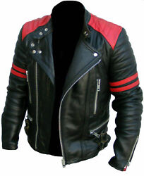 Mens Leather Jackets Soft Biker-style Moto Classic Design Red And Black Vintage