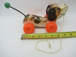 Vtg 1968 Fisher Price Little Snoopy Pull Toy Dog 693 Wood And Plastic Beagle