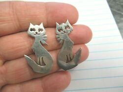 Vintage Signed Mexico 925 Fas Sterling Female Cat Post Earrings