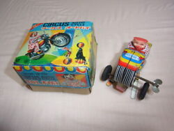 Unused 1970's Made In Japan Aoki Toy Circus Motorcycle Wind-up Toy Tinplate