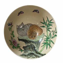 Dynasty Hand Painted Cats Chinese Porcelain Bowl Made In Macau Vtg