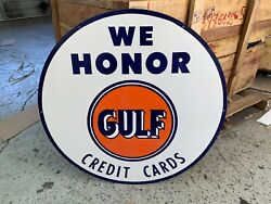 Gulf Credit Cards Honored Large Heavy Porcelain Sign 30 Inch Mint Cond.