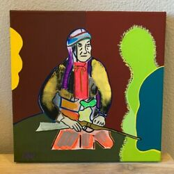 Cochise Apache Chief Native American Indian Hand Painted Painting 10x10 Series