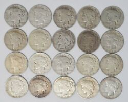 Roll 1934-s Peace Dollar 20 Coins Key Date Vg - Very Fine Dc-5774