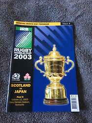 2003 Scotland V Japan World Cup Pool B @ Dairy Farmers Townsville Programme Vgc