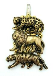 Vtg Signed Wm Rogers Is Sterling Silver Spoon Bronze Lion Tiger Cheetah Pendant