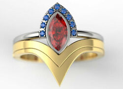 0.65ct Red Marquise Cut Diamond Unique Wonder Woman Ring Set 925 Sterling Silver